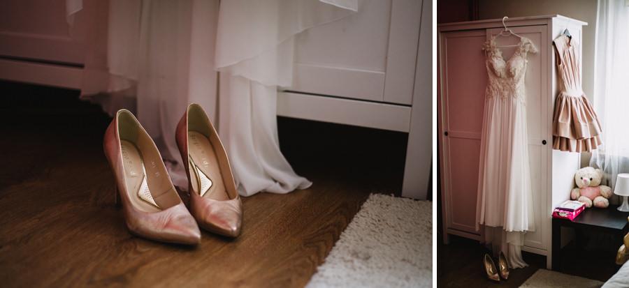 różowe buty na slub