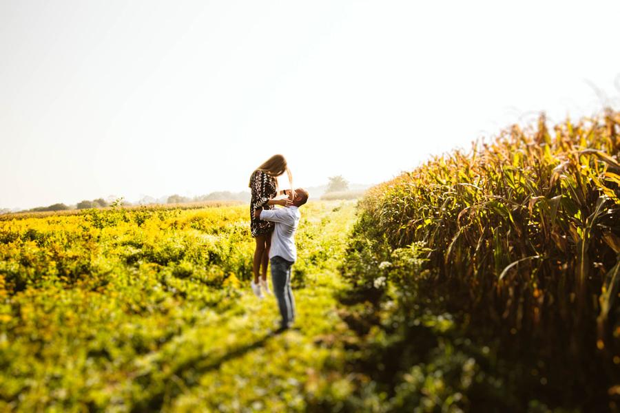 sesja narzeczeńska w polu kukurydzy